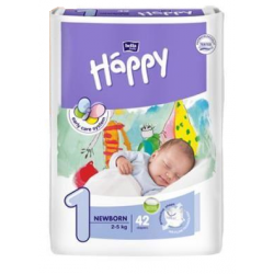 Couches Happy Newborn T1 (2 à 5 kg) Paquet de 42